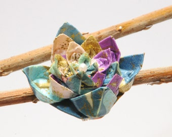 """Brooch in origami """"The cranes of the dawn and the sunset"""""""