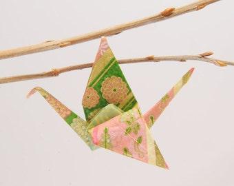 """Origami """"Floral cranes dew/green"""" pin"""
