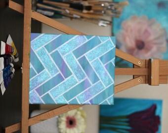 READY TO SHIP Whimsical Herringbone Acrylic Painting 8x10