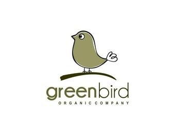 Green Bird Premade Logo Design Organic logo design Bio Eco Farm Professional business emblem Vintage shop Brand bird idntity