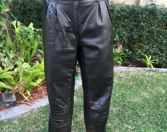 Vintage Italian Black Super Soft Leather Pants Size Small
