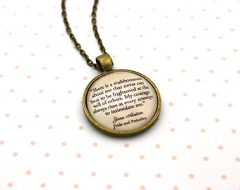Pride & Prejudice, 'My Courage Always Rises', Jane Austen Quote Necklace or Keychain