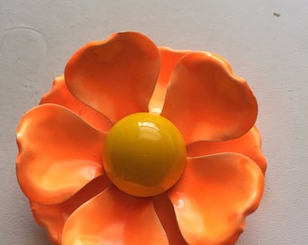 Vintage c.1970 Bright Orange and Yellow Enamel Flower Pin