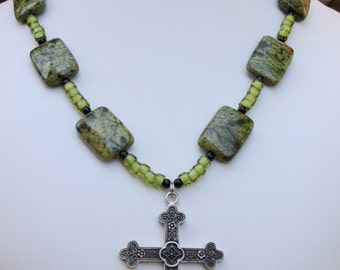 Reptile Jasper Cross Necklace