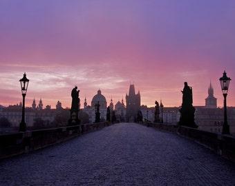 Sunrise - Charles Bridge - Karlův most - Prague - Praha - Czech Republic - Photo - Print