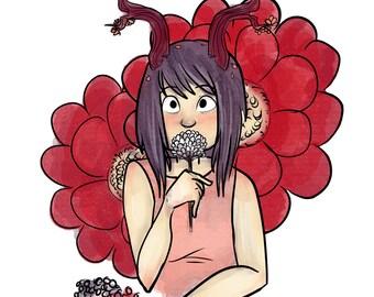 "Flower Series #2 - ""Carnation"" Digital Illustration Print"