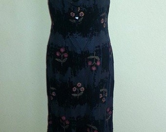 Black Multi Color - Velvet Burn out Maxi Dress with Beaded Spaghetti Straps - Size 10-Free Shipping!