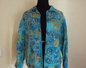 90's - Blue Multi Color Jacket - Size L.-Free Shipping!