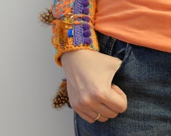 Orange bracelet. Knitted bracelet. Bracelet with antique amber