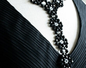 Long Black Necklace, Costume Jewelry, Y-shaped necklace