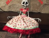 Skeleton Doll in Red Dress / Art Doll / Dolls and Miniatures / Gothic / DEADutante