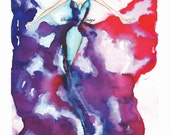 "Libertad"" Original Fashion illustration watercolor art Only one available Wall art, Sketch, Watercolor, Figure painting, Signed"