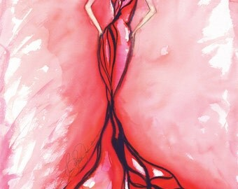 """Patricia"""" Fashion Illustration, Figure Painting, Watercolor, Art, Wall Decor, Large 20x24 Original only one signed, Not aprint"""