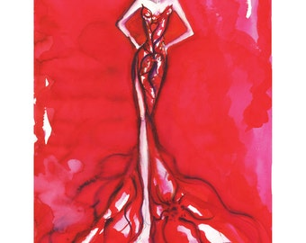 """Akira"""" Original Fashion illustration watercolor art Only one available Wall art, Fashion, Sketch, Watercolor, Figure painting, High Fashion"""