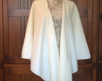 Fleece Shoulder Shawl Wrap Plus Onesize (18-24W) Ivory Decorative Edge Topstitching 4 Colors
