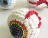 Rainbow Crochet Eyeball Amigurumi Plush Keychains
