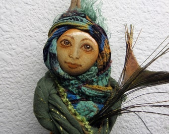 Kitchen Wall Decor, Cottage Garden Spirit,  Art doll,  Moon Goddess, Green Witch, Eco Botanical art doll
