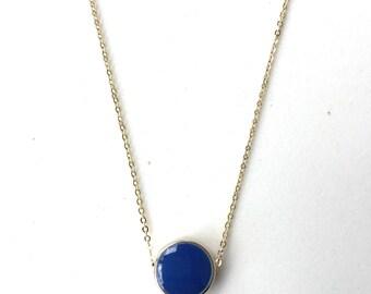 Navy Blue Enamel Circle Necklace