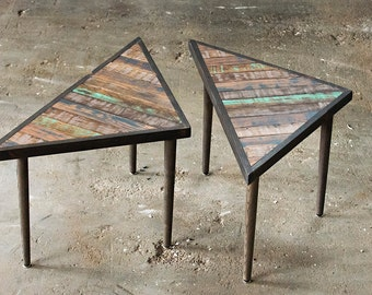 Reclaimed Wood Triangle Table | Coffee Table End Tables Nightstands | The Union Table | Geometric Table Set | Made To Order in Custom Colors