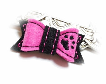 Hot Pink Dog Bow, Dog Paw, Girl Dog Bow, Felt Dog Bow, Embroidered Bow