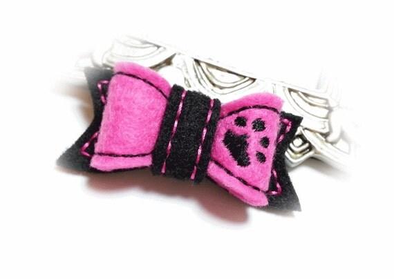 Hot Pink Dog Bow, Dog Paw, Girl Dog Bow, Felt Dog Bow, Embroidered Bow