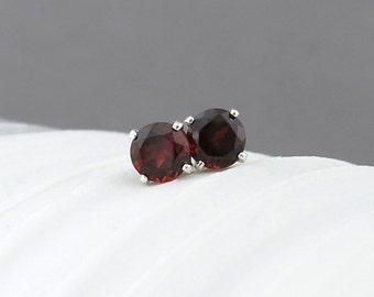 Garnet Earrings Tiny Silver Earrings Garnet Stud Earrings Red Earrings Sterling Silver Jewelry Post Earring 4mm January Birthstone Jewelry