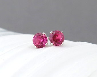 Ruby Stud Earrings Tiny Silver Stud Earrings Ruby Earrings July Birthstone Jewelry Silver Post Earring Birthday Gift for Her Simple Jewelry
