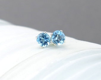 Swiss Blue Topaz Earrings Tiny Silver Earrings Silver Post Earrings Silver Stud Earrings Blue Earrings 4mm December Birthstone Gift for Her