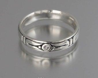 THE SECRET silver mens wedding band unisex sterling ring