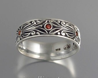 RED COUNT silver with garnet accents mens wedding band unisex ring
