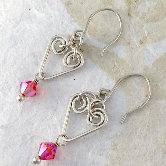 Sterling Silver Heart Earrings, Pink, wire wrapped, Swarovski Crystal, handmade, hammered wire charms, dangle and drop, simple, everyday