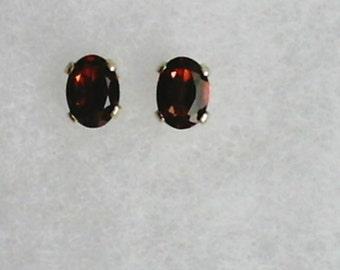 7x5mm Red Garnet Gemstones in 925 Sterling Silver Stud Earrings SnapsByAnthony January Birthstone