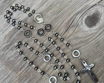 Modern Hematite 5-decade Catholic rosary