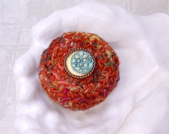 Silk Sari Basket with Gold Crescent Moon and Flower Embellished Lid - Orange Rust Turquoise Jewelry Box - Unique Handmade Home Decor STB095