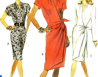 Vogue 7780 MOCK WRAP DRESS Skirt Overlay Size 14 16 ©1990
