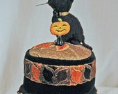 Black Felted Kitty Pincushion on a Brocade Tuffet with Antique Deco Trim