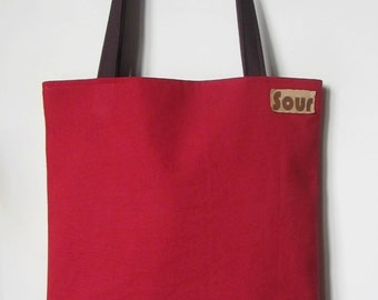 ON SALE// On My Way Red Canvas, Plum Purple and Floral Corduroy Tote Bag