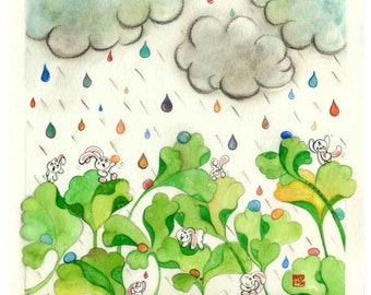 bunny nursery, colorful raindrops, rain cloud, ginkgo art, new baby gift, gift for goddaughter, 7x7 frame, whimsical wall decor, etsybaby