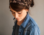Espresso Rose Lace Cowl Headwrap- Garlands of Grace headband scarf convertible headcovering