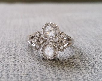 "Antique White Sapphire and Diamond Halo Bohemian Engagement Ring Nature 14K white Gold Flower Art Deco Art nouveau Couples Ring ""The Utopia"""