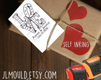 0365 SELF INKING JLMould Hand Drawn All about the LOVE Marquee Calligraphy Wedding Custom Personalized Modern Rubber Stamp
