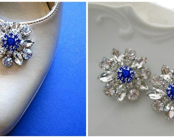 Wedding shoe clips, Something Blue, blue rhinestone, bridal shoe clips