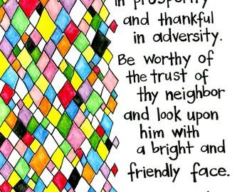 "Baha'i Quote - Illuminated Baha'i Quote- ""Be generous in prosperity and thankful in adversity"""