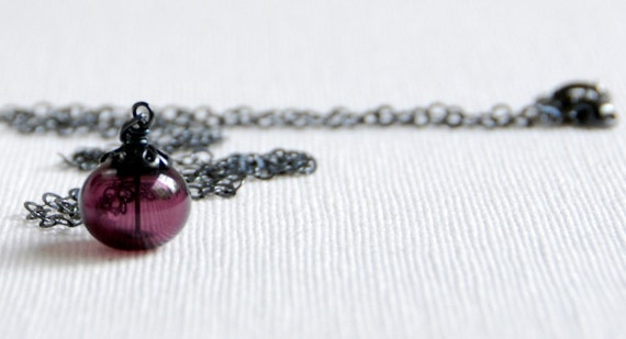 Purple Necklace, Purple Glass Pendant, Orchid, Pendant Necklace, Jewel tone Wedding, Hollow Glass -  Mulled Wine