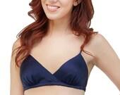 Louisa bralette- retro triangle bra in navy dark blue silk satin charmeuse, crossover wirefree wireless bralet, vintage inspired lingerie