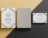 Art Deco Geometric Angles Elegant Wedding Invitation - Custom DIY Printable