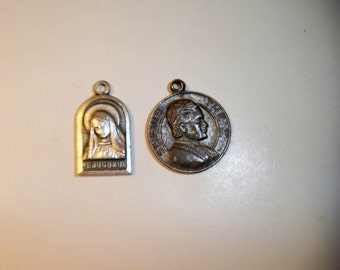 """Religious Medals, Pope St. Pius The X Silver Charm,  """"Medugorje"""" Silver Charm, Vintage Catholic Silver Medals, Collectible Religious Charms"""