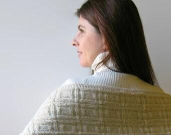 White Llama Hand Knit Scarf, Winter Womens Scarves, Mens Knit Shawl, Organic Yarn, Wrap Scarf, Undyed Llama Scarf, Neck Warmer, Long Scarf