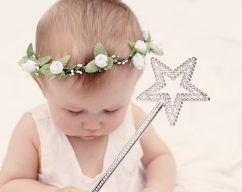 Baby flower crown, Tie back crown, White flower girl crown, floral wreath, Baby flower crown, Photography prop, woodland wreath (6+ months)