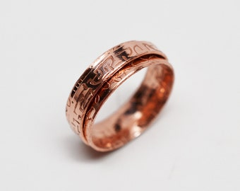 1/4 inch wide textured solid raw copper spinner ring